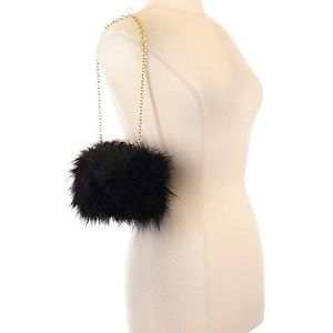 BCBG Black Fur Clutch